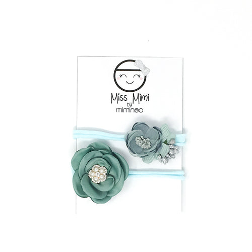 Flower Headband Set Aqua