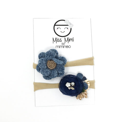 Flower Headband Set Midnight Blue
