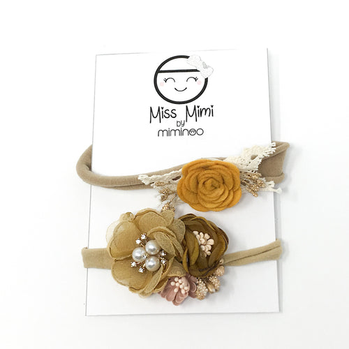 Flower Headband Set Spicy Mustard