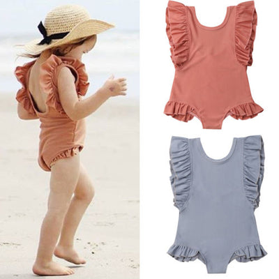 Ruffle Swimsuit for Girls in Greyish Blue