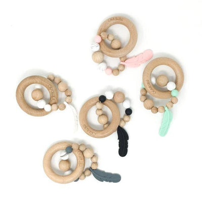 Baby Wood & Silicone Rattle Feather Mint-BABY RATTLE-MIMINOO- babies, kids and moms fashion, decor and accessories at Modern Kids Society USA