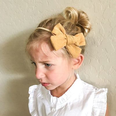 Corduroy Hair Bow Claret Wine-Hair Accessories-Miss Mimi- babies, kids and moms fashion, decor and accessories at Modern Kids Society USA