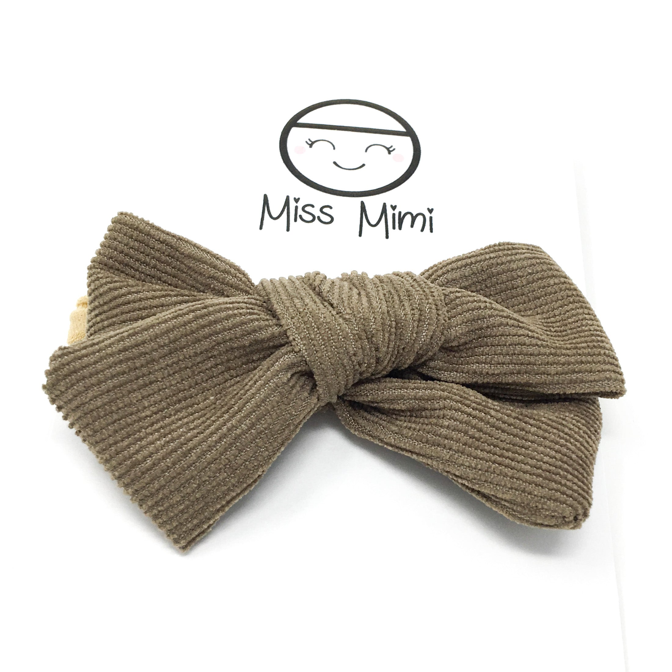 Corduroy Hair Bow Kaki