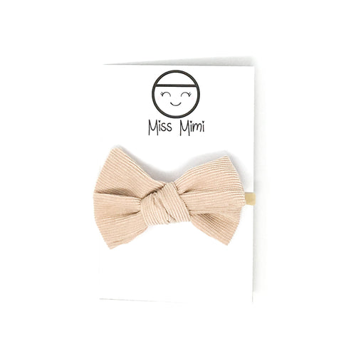 Corduroy Hair Bow Beige