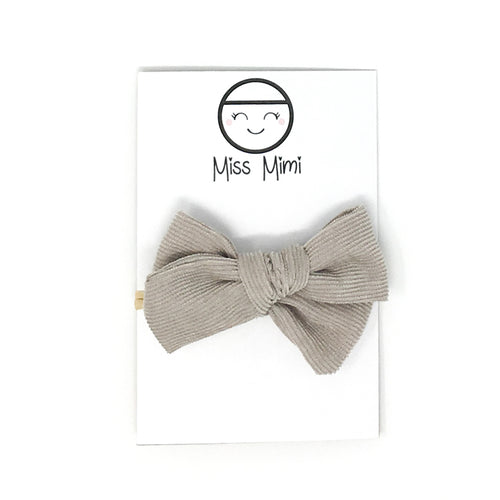Corduroy Hair Bow Taupe