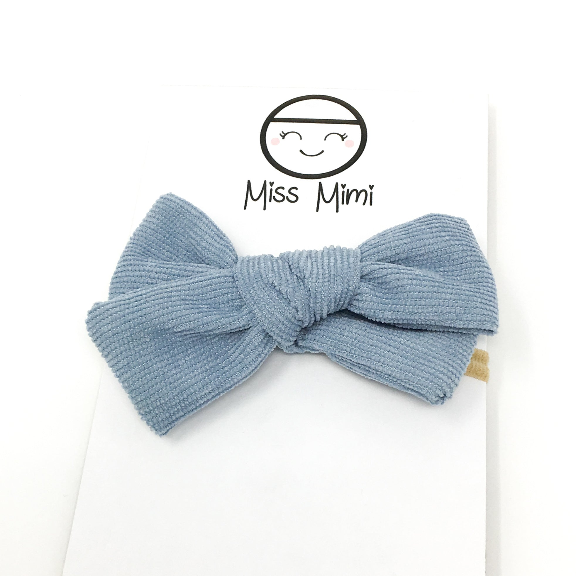 Corduroy Hair Bow Grayish Blue