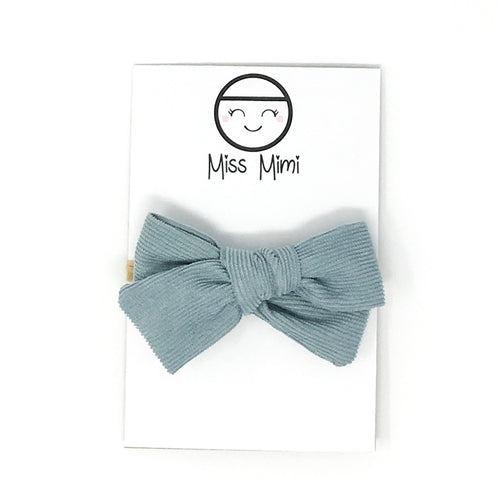 Corduroy Hair Bow Seafoam