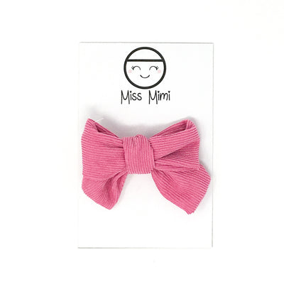 Corduroy Hair Bow Fuchsia-Hair Accessories-Miss Mimi- babies, kids and moms fashion, decor and accessories at Modern Kids Society USA
