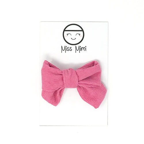 Corduroy Hair Bow Fuchsia