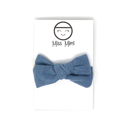 Corduroy Hair Bow Denim Blue