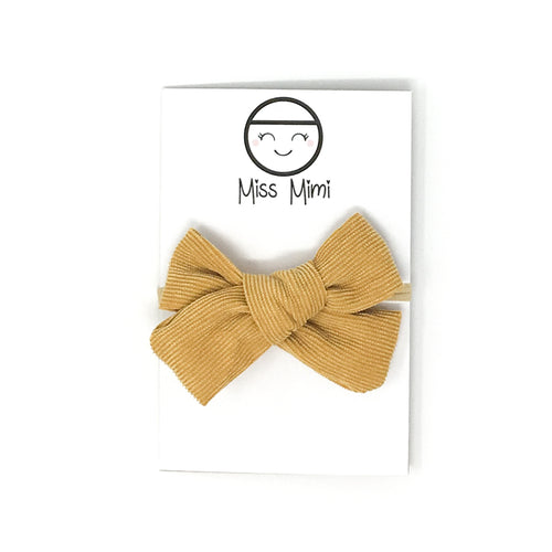 Corduroy Hair Bow Mustard
