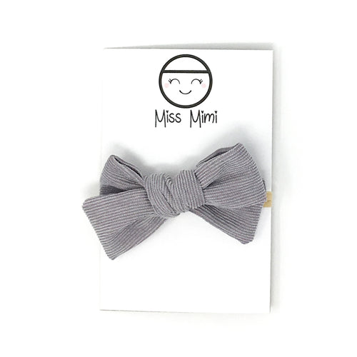 Corduroy Hair Bow Grey