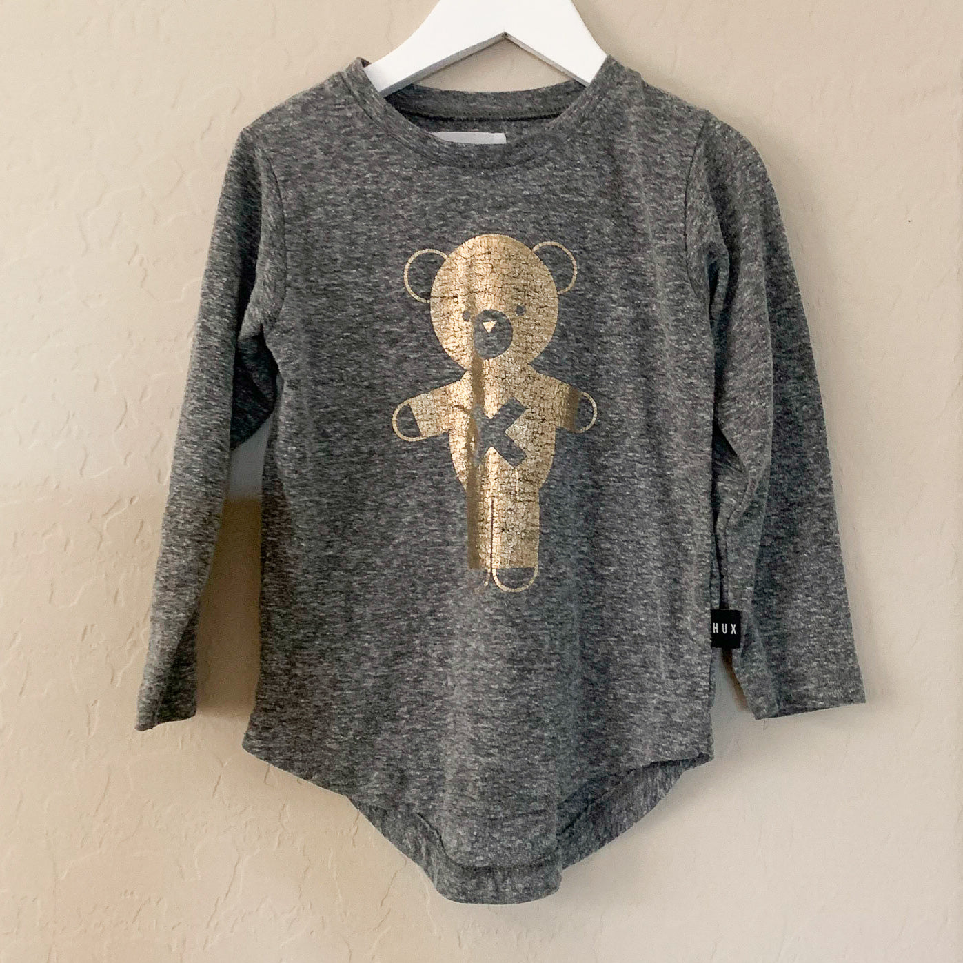 Huxbaby 3Y Soldier Bear L/S Top Charcoal Slub/Gold
