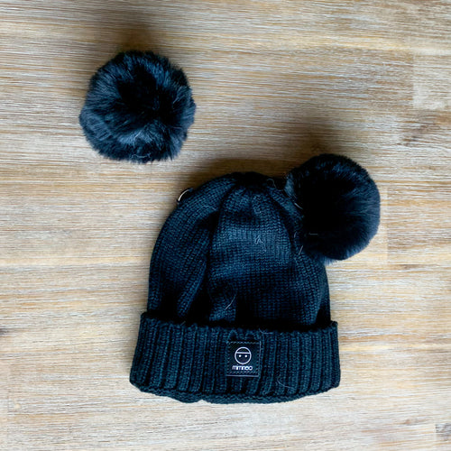 Merino Baby Classic Removable Double Pompoms Hat Black