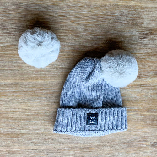 Merino Baby Classic Removable Double Pompoms Hat Grey