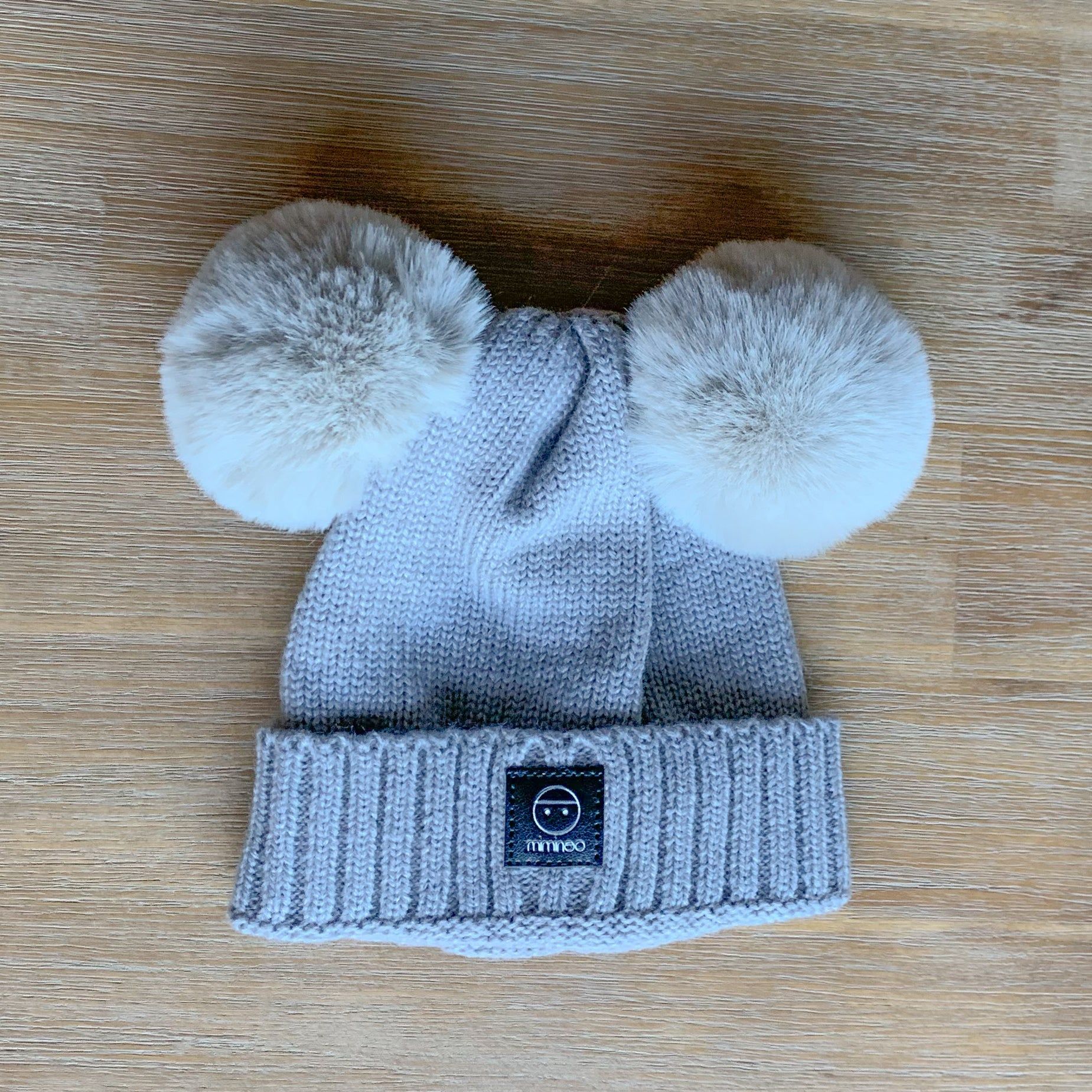 Merino Baby Classic Removable Double Pompoms Hat Grey-Winter Hats-MIMINOO- babies, kids and moms fashion, decor and accessories at Modern Kids Society USA