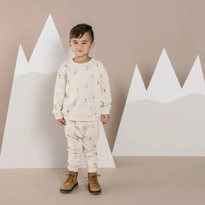 Rylee & Cru Ski Sweatshirt in Wheat-SWEATSHIRT-RYLEE AND CRU- babies, kids and moms fashion, decor and accessories at Modern Kids Society USA