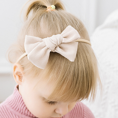 Corduroy Hair Bow Dusty Pink