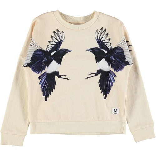 Molo Marigold Sweat Shirt Mirror Magpies Birds-SWEATERS-Molo- babies, kids and moms fashion, decor and accessories at Modern Kids Society USA