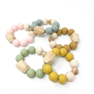 Baby Wood & Silicone Rattle Diamond Nature Collection Mustard