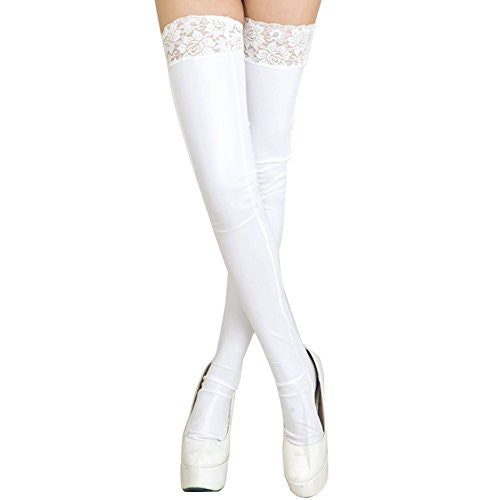 Smart Womens Lady Wet Looking Long Socks & Briefs Lace Stay-Up Tights High Stockings