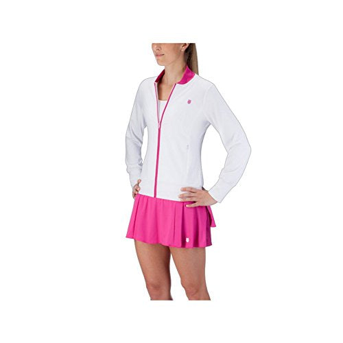 K-Swiss Women`s Warm Up Tennis Jacket White and Berry - (190127-100S16)