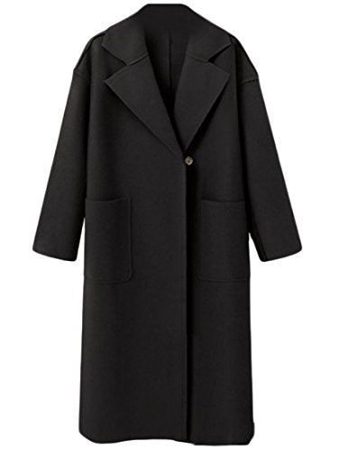 Tootless-Women Woolen Fashion Lapel Solid Long Windbreakers Topcoat Black XS