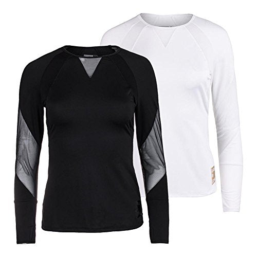 LUCKY IN LOVE Women`s Logo Athletic Long Sleeve Tennis Top - (CT388-H17)