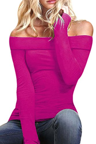 Women Off Shoulder Stretch Long Sleeve Blouse Tops Shirt Rose Red M