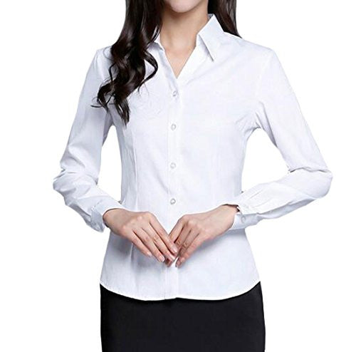 Generic Women's Long Sleeve Solid Office Button-down Shirt Blouse XS White