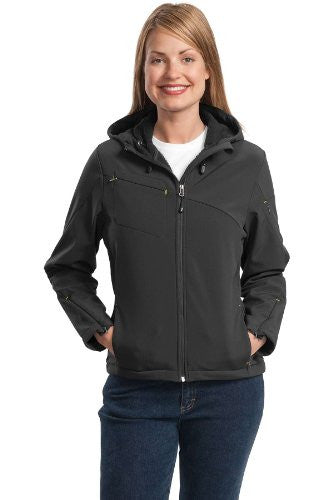 Port Authority - Ladies Textured Hooded Soft Shell Jacket. L706 - Charcoal/Lemon Yellow_XXL
