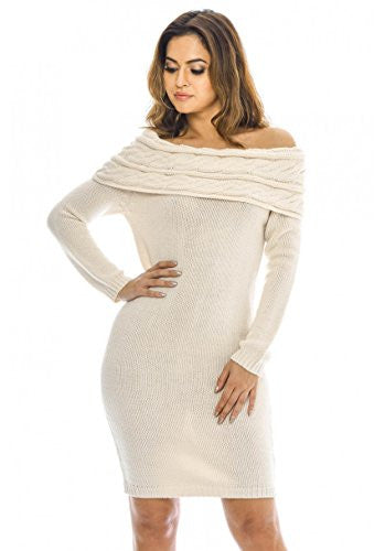 AX Paris Women's Off The Shoulder Knitted Sweater Dress(Cream, Size:S/M)