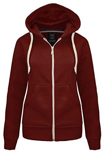 NEW LADIES WOMENS PLAIN HOODIE HOODED ZIP TOP ZIPPER SWEATSHIRT JACKET COAT Wine UK 14 / AUS 16 / US 10