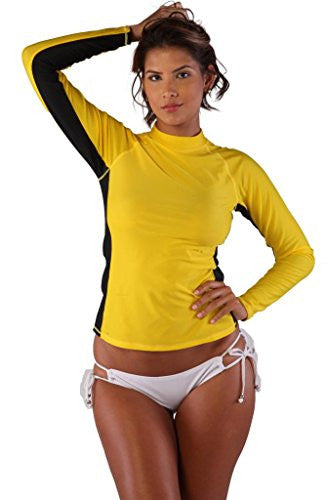 Ingear Ladies Rash Guard Long Sleeve Shirt Swimwear Yellow/Black-Large