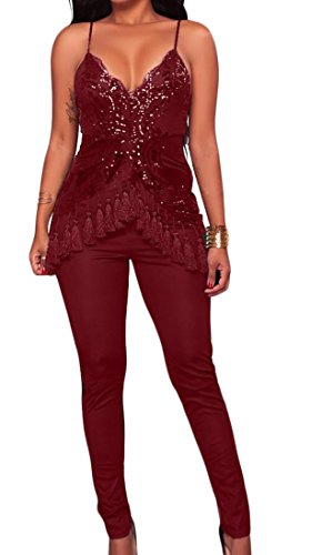 SYTX Womens Deep V-Neck Spaghetti Strap Sequins Tassel Pants Jumpsuits Rompers Wine Red US XS