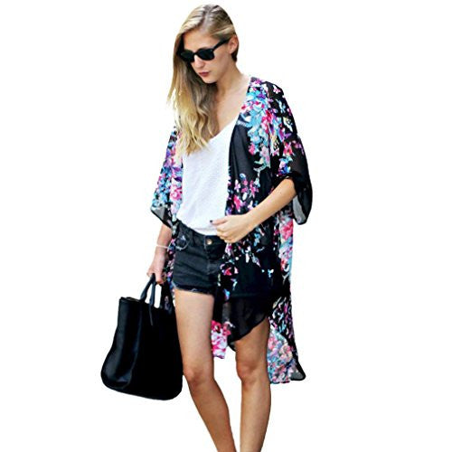 OVERMAL Women Floral Printed Chiffon Kimono Cardigan Shawl Blouse Tops Cover up (US=6)
