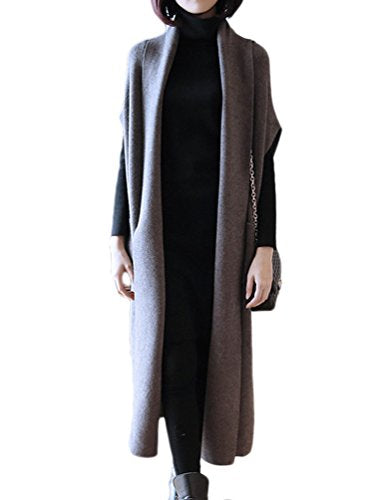 Choco Mocha Womens Duster Sweater Vest Open Front Cardigan Sweaters Grey