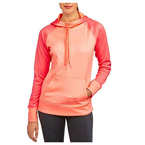 Danskin Now Women's Active Raglan Heather Tech Fleece Hoodie (Small, Coral Freeze)