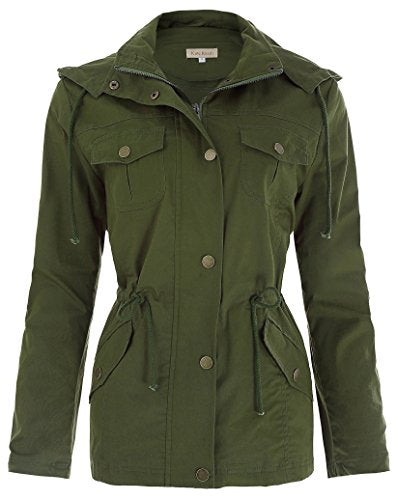 Women's Military Anorak Safari Jacket Zip Up Coat(M, Army Green)