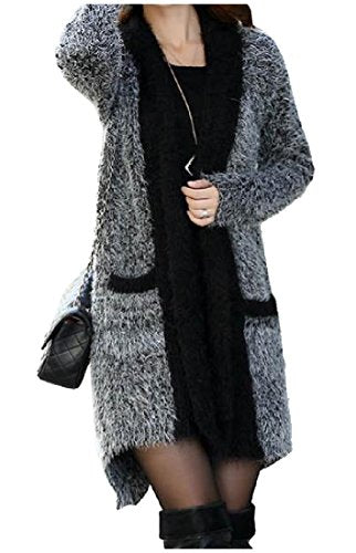 Comfy Women Cargo Pocket Long Sleeve Cardigan Mid Length Outerwear Black One-Size