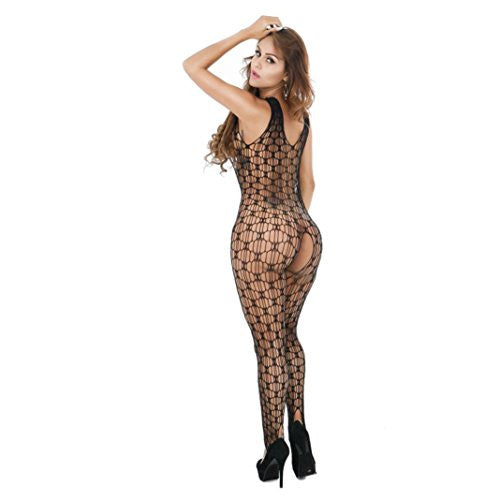WensLTD Sexy Women Fishnet Sheer Open Crotch Body Stocking Bodysuit Lingerie (black)