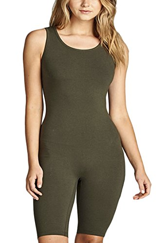 OLLIE ARNES Women's Supple Stretchy Smooth Bodycon Jumpsuit Romper 10_Olive L