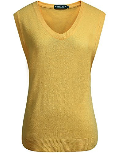 Camii Mia Women's V Neck Solid Sweater Vest (X-Large, Yellow)