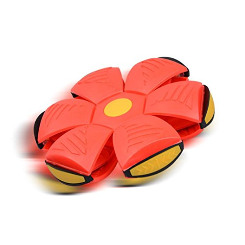 Convinced 8 UFO Deformation Ball Soccer Magic Flying Football Flat Throw Ball Toy Game (Red)