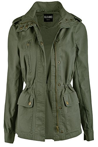 Ollie Arnes Women's Utility Military Anorak Drawstring Parka Jacket with Pocket 58 OLIVE L
