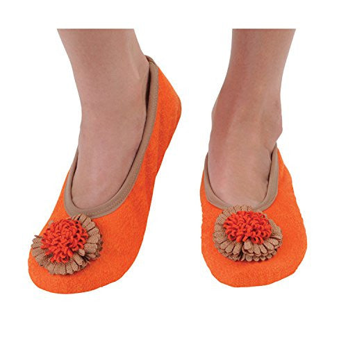 Snoozies Womens Distressed Suede Slipper Socks, Mandarin Orange, Large