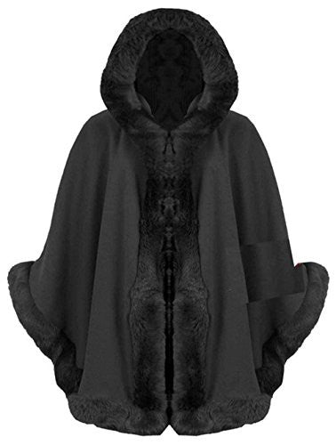 Style Fashion-womens Cape Poncho Celebrity Faux Fur Lined Trimmed
