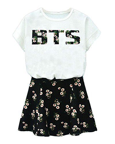 BTS Suga Jin Jimin Jung Kook Printed T-Shirt + Floral Skirt Two Piece Suit XXL