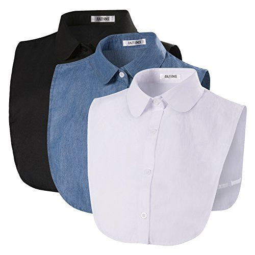 Anzermix® Women's PeterPan Detachable Fake Collars Half Shirt Blouse Dickie Pack of 3