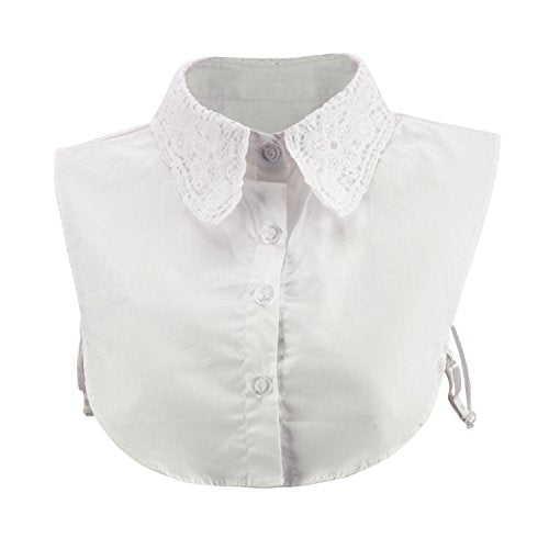 CHN'S Women's Fake Collar Dickey Lace Detachable Cuff Cotton Blouse Half Shirt (One Size, White)